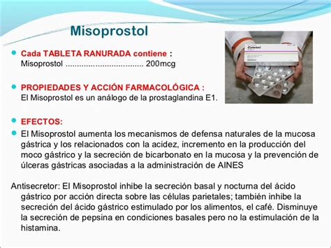 Cytotec 200 Misoprostol Clase Nº 24 Serotonina Histamina Eicosanoides