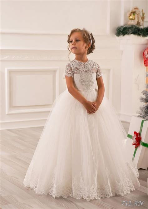 ivory lace flower girl dress wedding party holiday