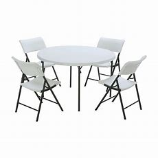 Lifetime 5piece White Folding Table And Chair Set80411