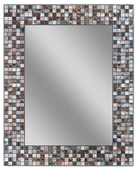 Bathroom Mosaic Mirror Tiles by Deco Mirror Mirrors 30 In L X 24 In W Earthtone Copper