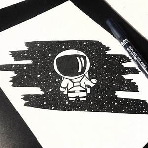 astronaut drawing space pencil on Instagram
