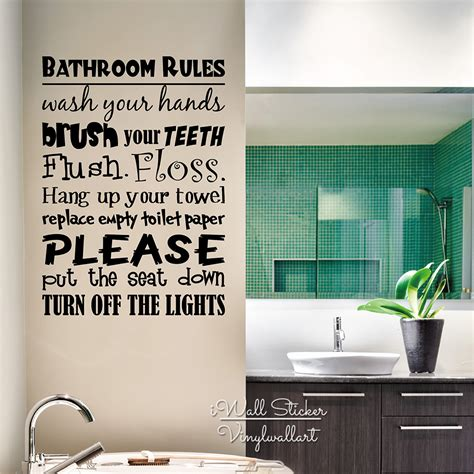 bathroom rules vinyl lettering wall decal home quotes wall