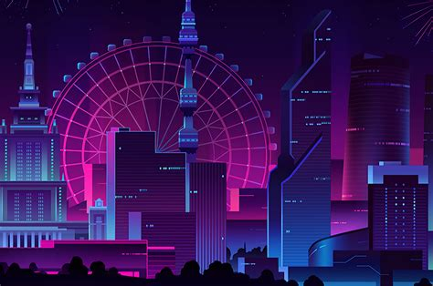 minimal neon city fireworks wallpapers