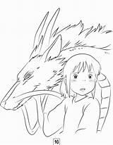 Ghibli Studio Coloring Chihiro Anime Viagem Desenhos Escolha Pasta Desenho Personagens sketch template