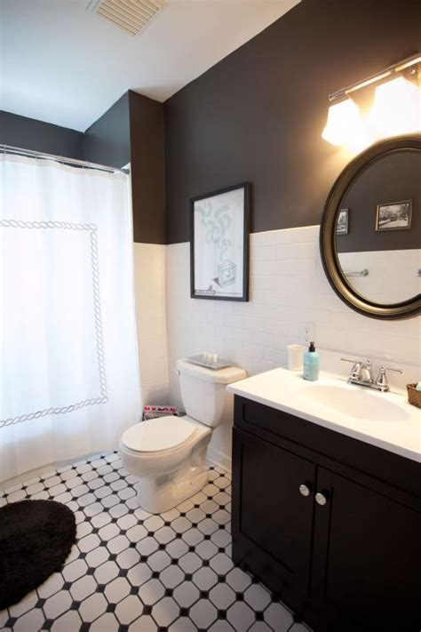 paint color for black and white tile bathroom two toned walls that work colorblocking inspiration