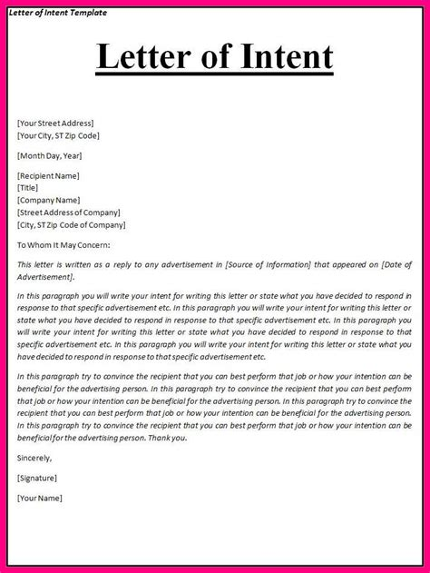 Cover Letter Of Intent Template by 6 Exle Of Intent Letter For Penn Working Papers