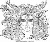 Coloring Pages Adults Shutterstock Fantasy Deer Vector Antlers Nature Ornament Spirit Mermaid Spring Forest Royalty Queen sketch template