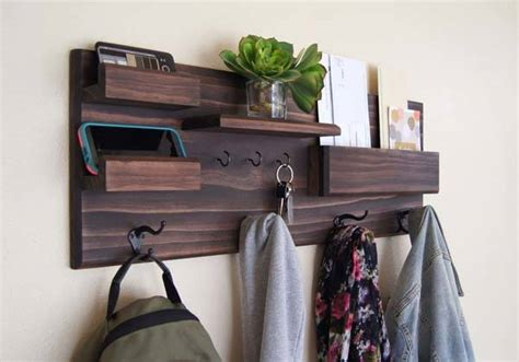 The Handmade Entryway Wall Organizer With Coat And Key
