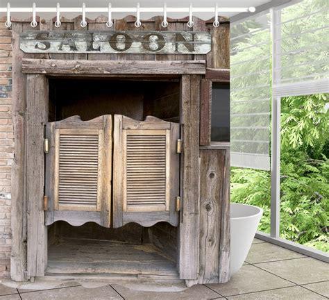 lb rustic  wooden barn door western shower curtain set
