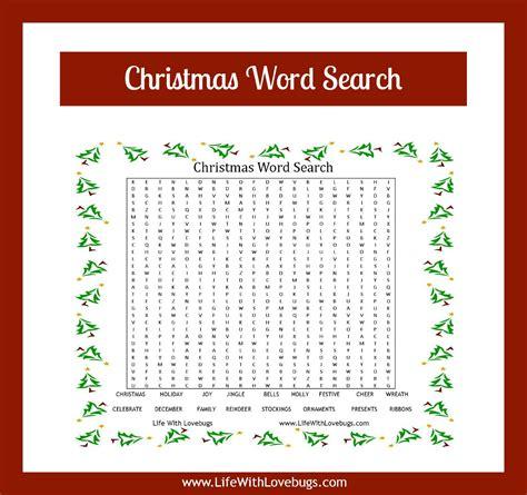 christmas word search printable life with lovebugs