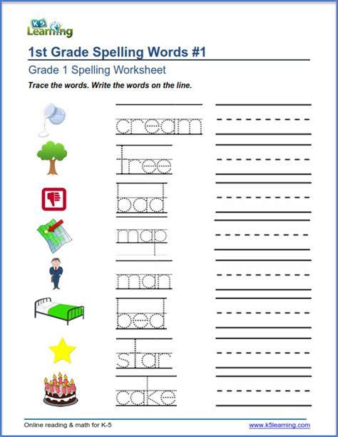worksheets writing words grade 1 spelling worksheets trace and write words k5