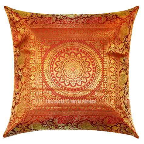 Accent Pillows by Orange Medallion Circle Motif Decorative Accent Square