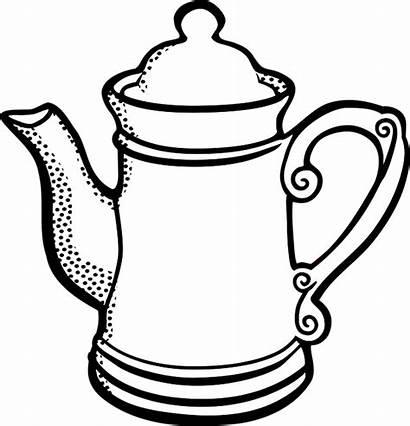 Pot Tea Line Coffee Kopi Vektor Clip