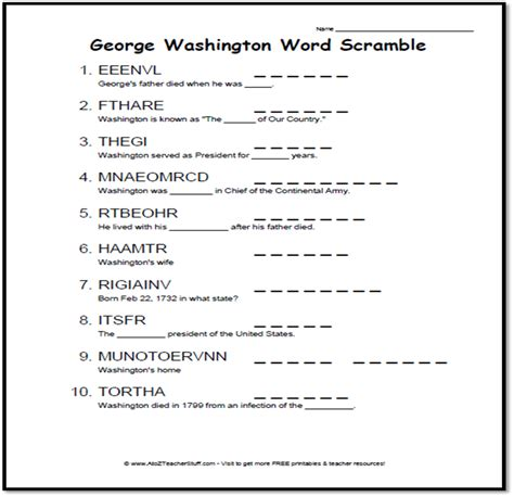 George Washington Printable Worksheets Worksheets For All