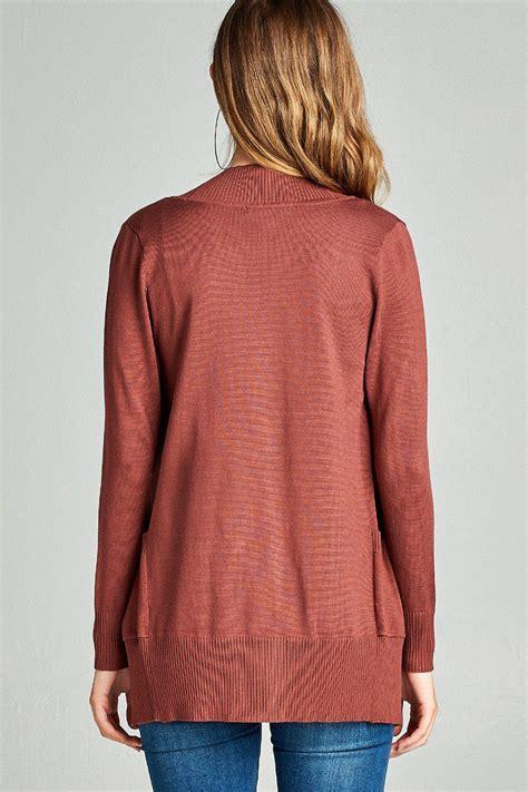 draped sweater s cardigan sleeve open front draped sweater rib
