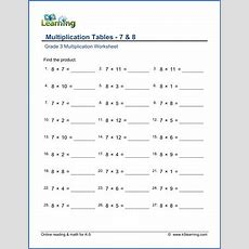 Grade 3 Math Worksheet  Multiplication Tables 7 & 8  K5 Learning