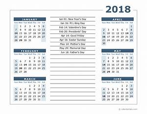2020 Yearly Calendar Template Word 2018 Calendar Template 6 Months Per Page Free Printable