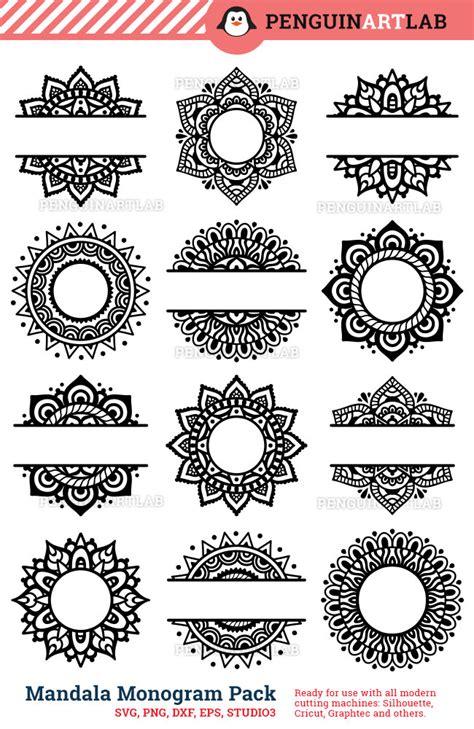 mandala pack monogram  split svg cut files  electronic