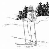 Ski Skier Coloring Beginner Stands Extreme Isolated Resort Winter Line Skies Illustrations Vectors Poles Holds sketch template