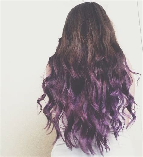 Brunette To Purple Ombre Dip Dye Hair Hair Hair Dyed