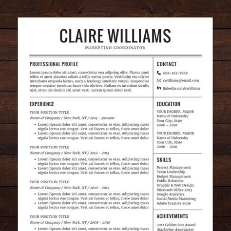 Professional Resume Word Template by Resume Template Cv Template Instant Professional