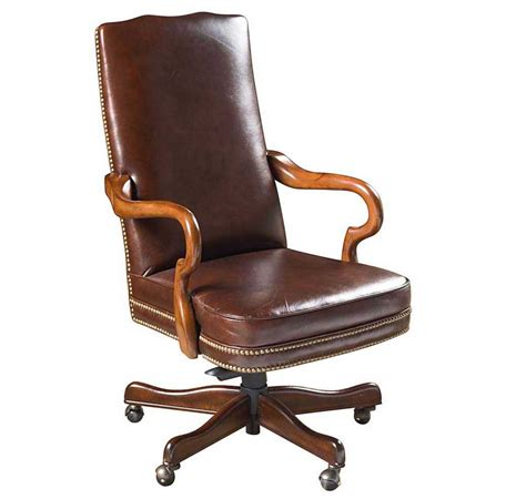 wood and leather desk chair brown leather wood office chair with pneumatic seat height