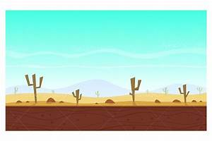 Desert cartoon game background ~ Illustrations ~ Creative ...