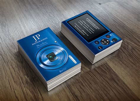 blue digital camera business cards eatlovepray