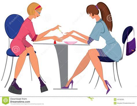 manicuro da mulher dos desenhos animados que aplica o verniz para as unhas ao cliente ilustra 231 227 o