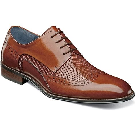 Stacy Adams Shoes Mens Tan Leather Woven Wingtip 25238-240