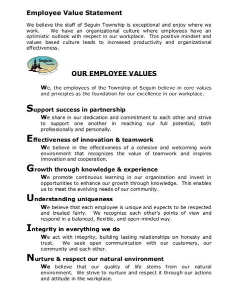 Values Statement Template by 6 Value Statement Exles Sles
