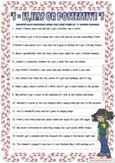 contractions esl printable worksheets  exercises