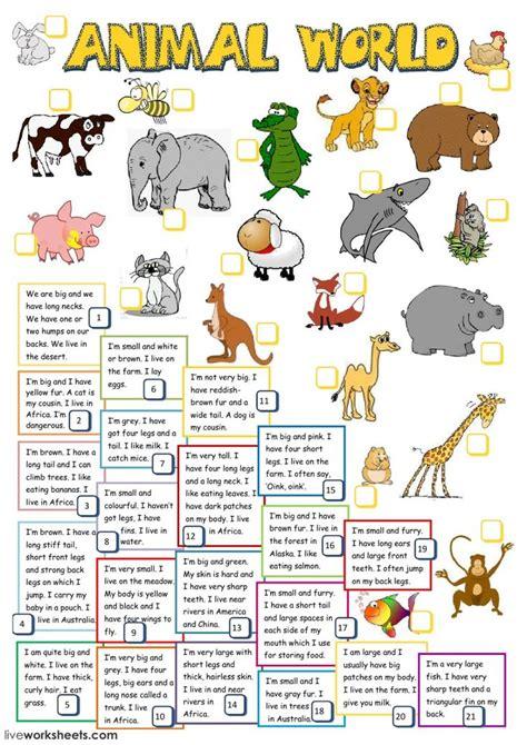 animals interactive  downloadable worksheet