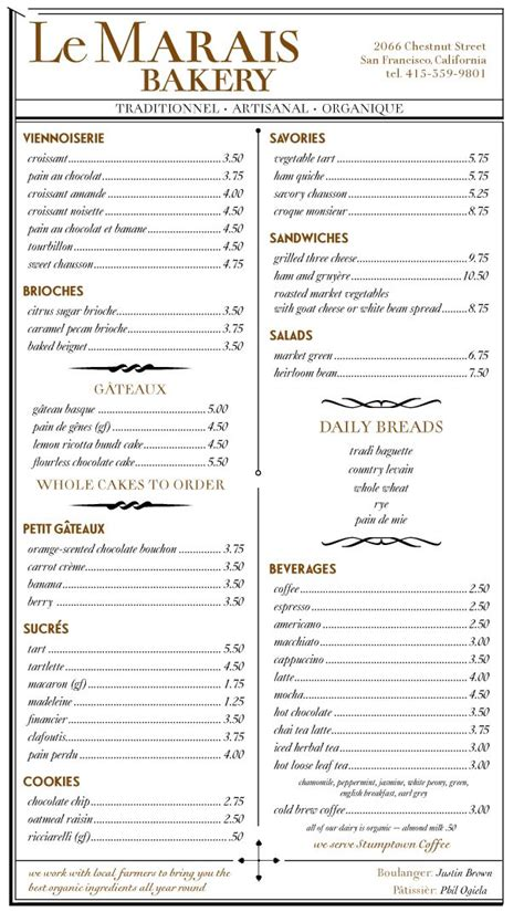 › how to start a coffee stand. Le Marais Bakery Menu (click for pdf) in 2020   Bakery menu, Menu, Bakery