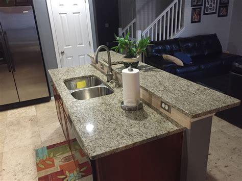 giallo ornamental granite countertops in kitchen with