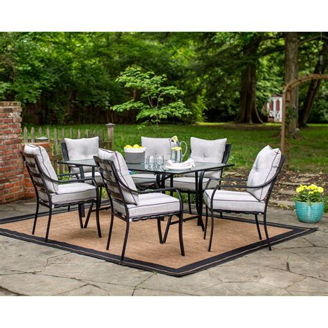 Outdoor Table Set by Lavallette 7 Dining Set With 9 Ft Table Umbrella