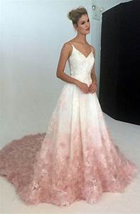 v neck silk organza ball gown wedding dress with blush With floral wedding dresses with color