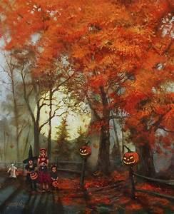 Full Moon On Halloween Lane Painting by Tom Shropshire