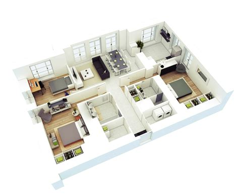 3 Bedroom Apartment House 3d Layout Floor Plans by 3d Three Bedroom House Layout Design Plans 23034