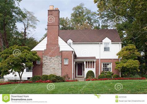 House With Large Fireplace Chimney Stock Image Image Of