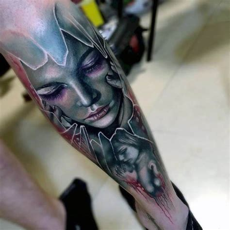 broken glass tattoo designs  men shattered ink ideas