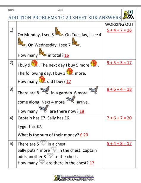 Math word problems work, mixed addition and subtraction word problems, first grade multiplication and division math word problems, three addends word problems to 20, grade 6 math word problems with percents. 1st Grade Addition Word Problems