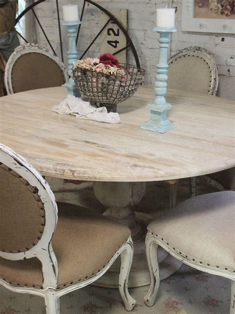 shabby chic pedestal dining table painted cottage chic shabby french linen round dining table tbl31 painted cottage pedestal
