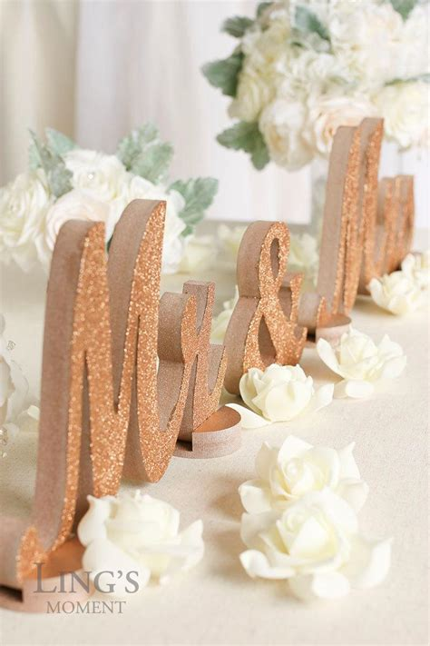 rose gold glitter    letters wedding decorations