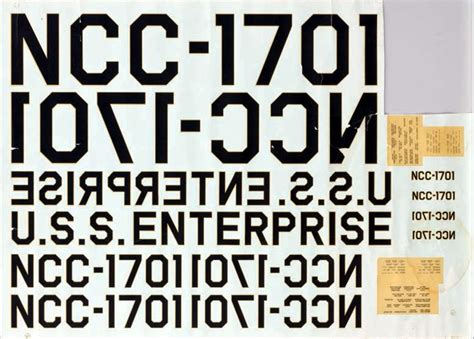 letters for spock or riker image uss enterprise 11 model decal sheet by
