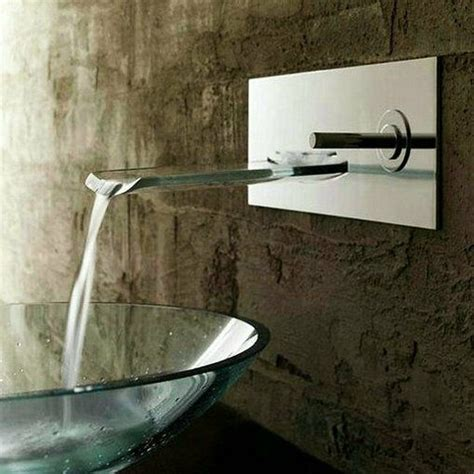 nickel brushed wall mount bath basin faucet waterfall sink