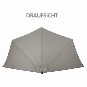 sonnenschirm gartenschirm sonnenschutz halbrund grau o With französischer balkon mit sonnenschirm 3m grau