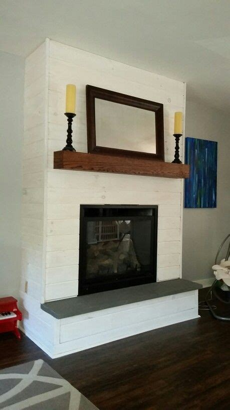 fireplace makeover diy whitewash panelshiplap bluestone