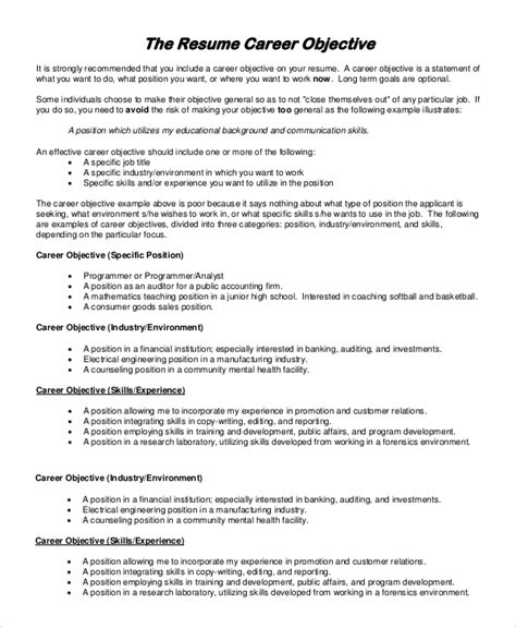 General Resume Objective Statements by General Resume Objective Sle 9 Exles In Pdf