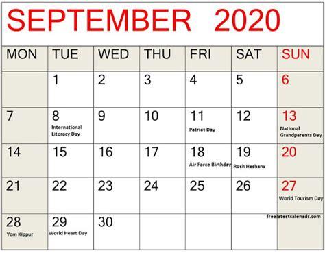 Full List of September 2020 Calendar with Holidays ...